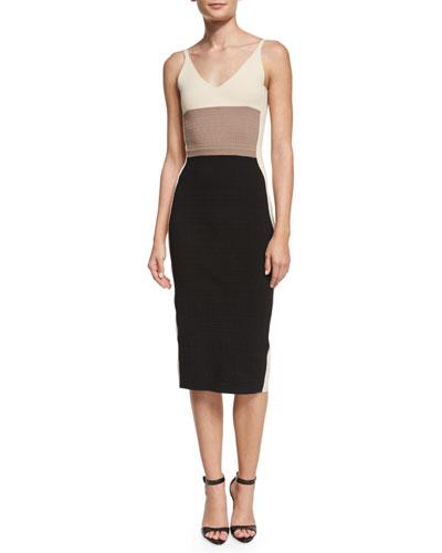 Sleeveless Colorblock Sheath Dress, Black/Cream/Putty
