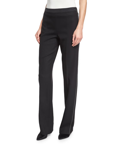 Mid-Rise Slim-Leg Pants, Black