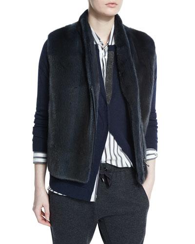Reversible Zip-Front Soft Fur Vest, Navy