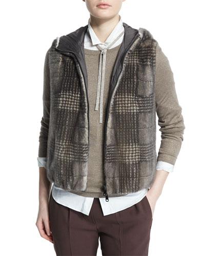 Reversible Glen-Check Fur Vest, Bark