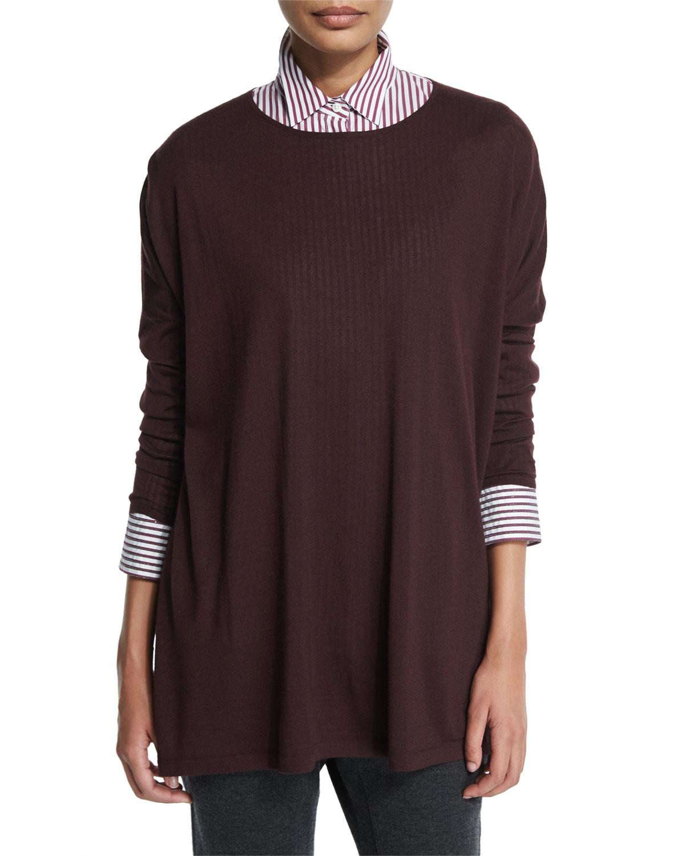 Dolman-Sleeve Oversized Sweater, Burgundy