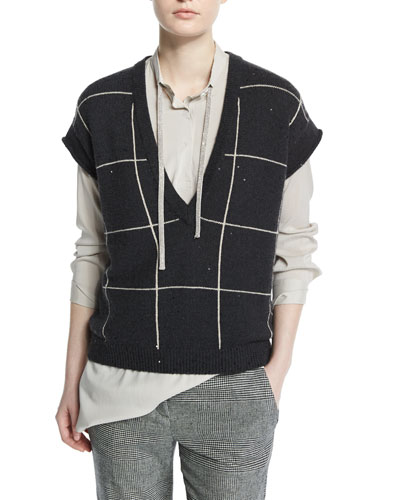 Cap-Sleeve Embellished Windowpane Pullover, Charcoal