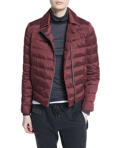 Asymmetric Zip-Front Puffer Jacket, Burgundy