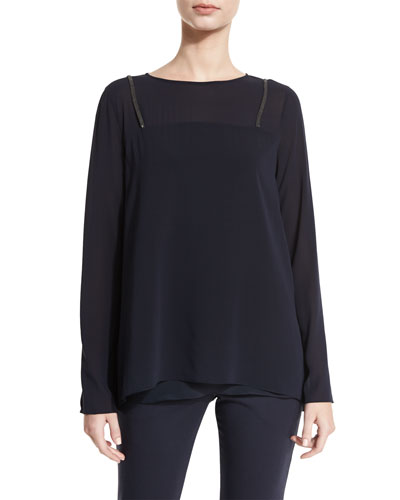Monili-Suspender Long-Sleeve Blouse, Navy