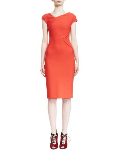 Darlington Asymmetric V-Neck Sheath Dress, Red