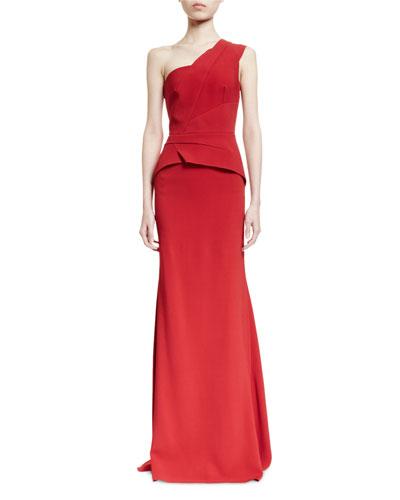 Godfrey One-Shoulder Peplum Degrade Gown, Red