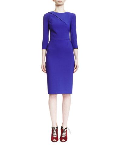 Hisley 3/4-Sleeve Sheath Dress, Royal Purple