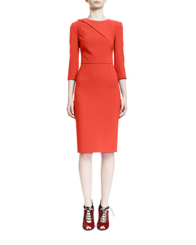 Draped-Shoulder 3/4-Sleeve Sheath Dress, Red