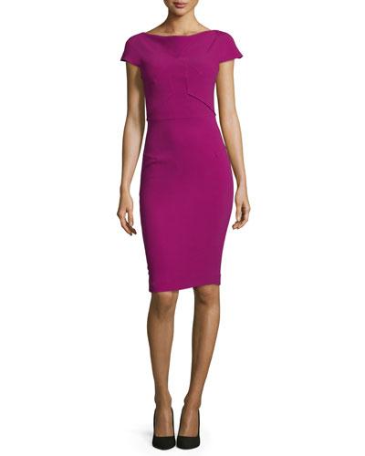 Seamed Cap-Sleeve Sheath Dress, Claret