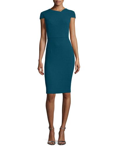 Cap-Sleeve V-Back Sheath Dress, Petrol Blue