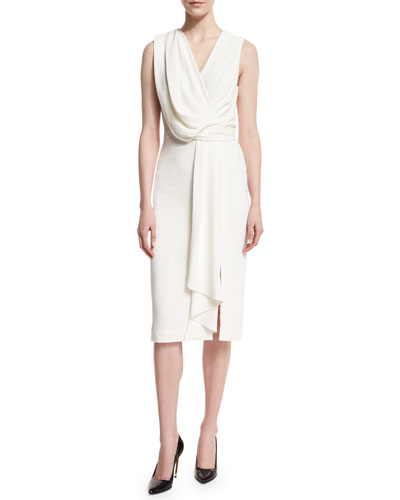 Sleeveless Draped-Front Sheath Dress, Chalk