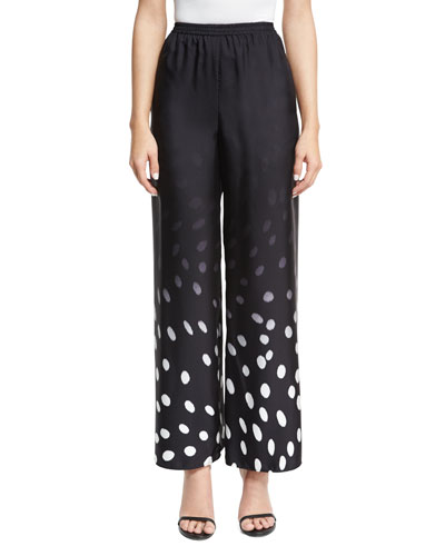 Degrade Dot-Print Wide-Leg Pants, Black/White
