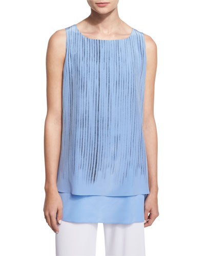 Round-Neck Screen-Print Tank, Blue/Black