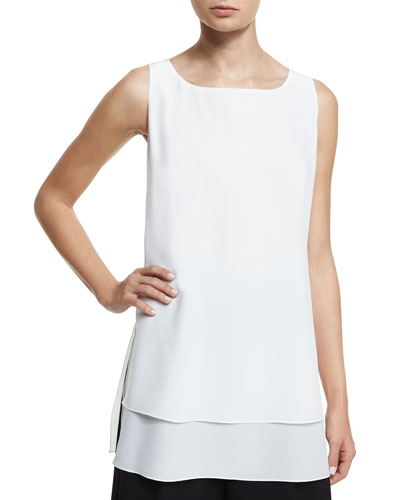Round-Neck Layered-Hem Tank, White