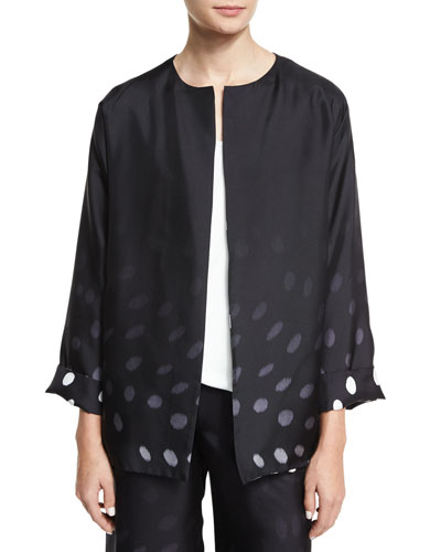 Degrade Dot-Print Open-Front Jacket, Black/White