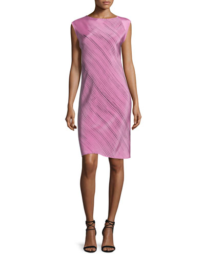 Sleeveless Grid-Print Spiral Dress, Pink