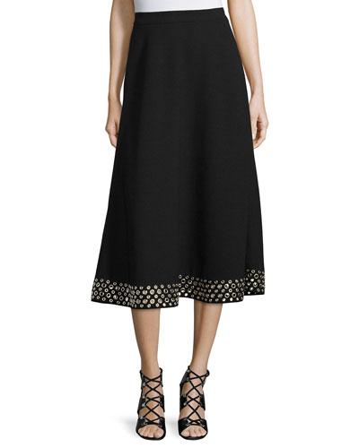 High-Waist Embellished-Hem Midi Skirt, Jet