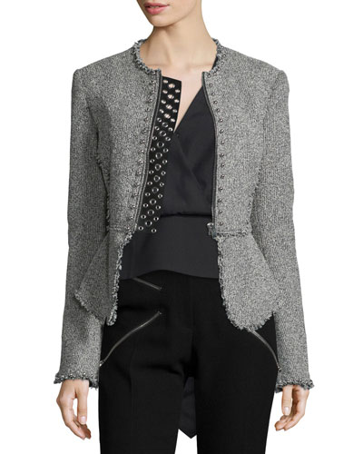 Long-Sleeve Stud-Trim Tweed Jacket, Black/White