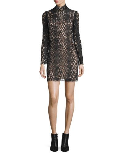 Python-Lace Long-Sleeve Turtleneck Dress, Jet