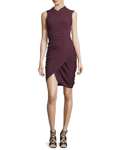 Sleeveless Asymmetric Drape Sheath Dress, Balsamic