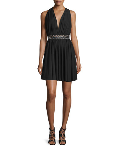 Racerback Grommet-Embellished Dress, Jet