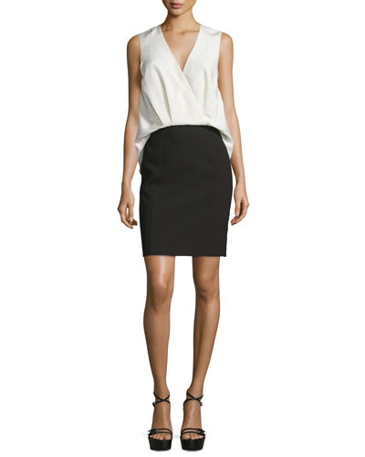Sleeveless Draped-Front Colorblock Dress, Jet