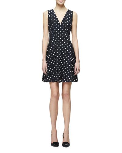 Polka-Dot Fit-&-Flare Dress, Black/White