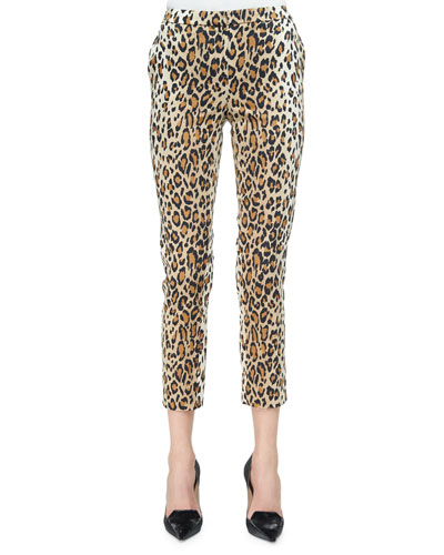 Cheetah-Print Skinny Cropped Pants, Black/Camel