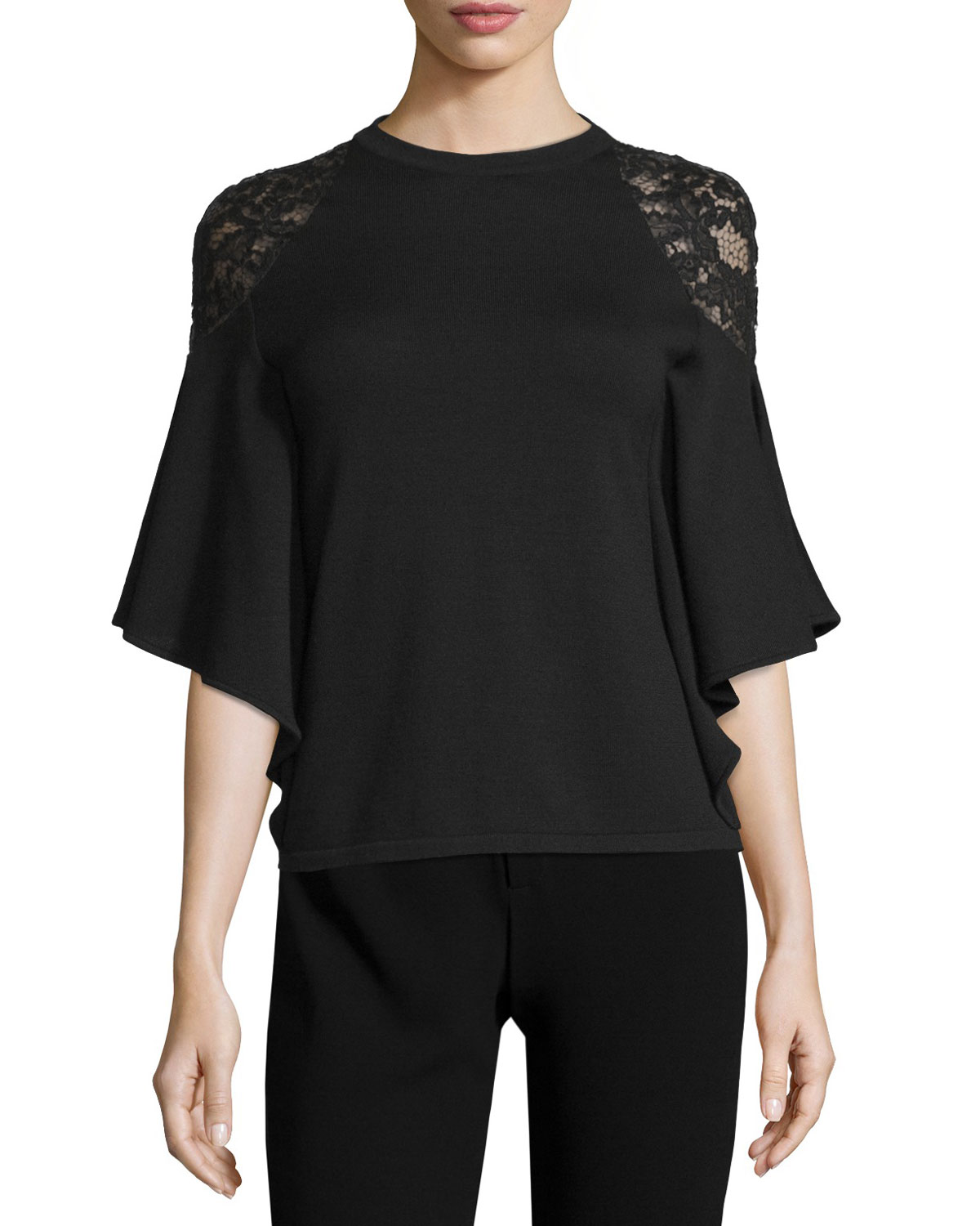 Lace-Shoulder Batwing-Sleeve Top, Black