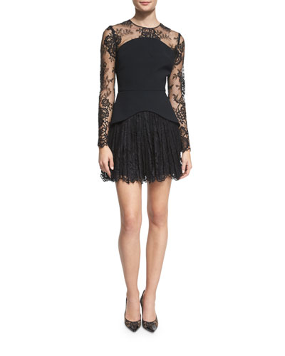 Long-Sleeve Lace Illusion Cocktail Dress, Black