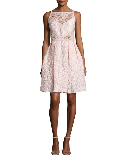 Floral-Jacquard Sleeveless Cocktail Dress, Opal