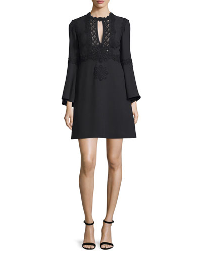 Bell-Sleeve Macrame-Inset Cocktail Dress, Black