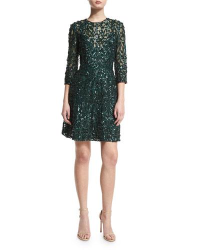 3/4-Sleeve Sequin-Embellished Cocktail Dress, Bottle