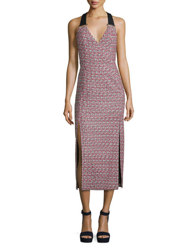 Houndstooth Sleeveless Midi Dress, Red/Black/White