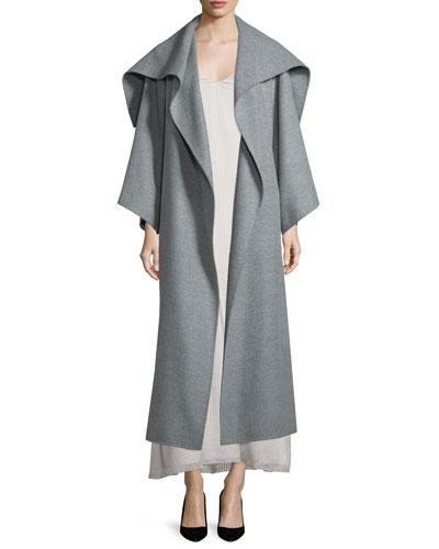 Lanja Shawl-Collar Belted Coat, Light Graphite
