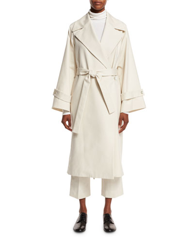 Swells Belted Wrap Trenchcoat, Light Ivory
