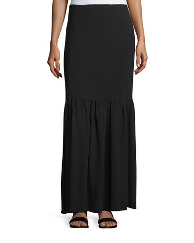 Rinnah Flounce-Hem Maxi Skirt, Black