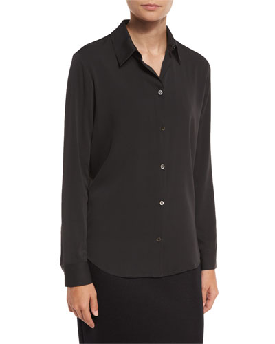 Peter Classic Button-Front Blouse, Dark Charcoal