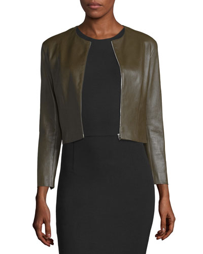 Stanta Zip-Front Cropped Leather Jacket, Peat