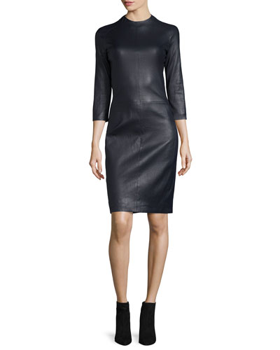 Sobee Long-Sleeve Leather Dress, Navy