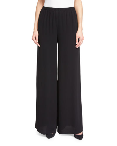 Lene Elastic-Waist Wide-Leg Pants, Black