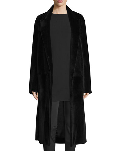 Lory Double-Breasted Fur Coat, Black