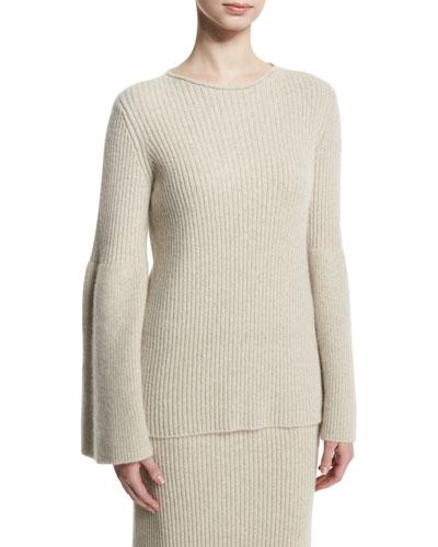 Atilia Flounce-Sleeve Cashmere Sweater, Smoky Pearl