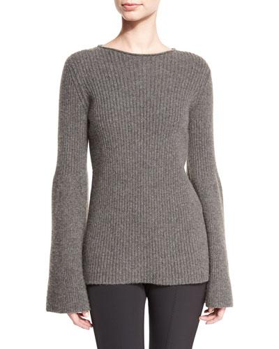 Atilia Ribbed Bell-Sleeve Sweater, Dark Gray Melange