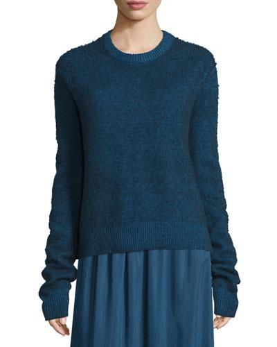 Rienda Extended-Sleeve Distressed Sweater, Dark Sapphire