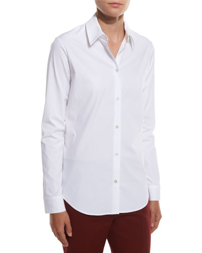 Peter Classic Button-Front Blouse, White