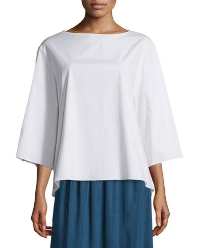 Bolarin 3/4-Sleeve Stretch-Poplin Top, White