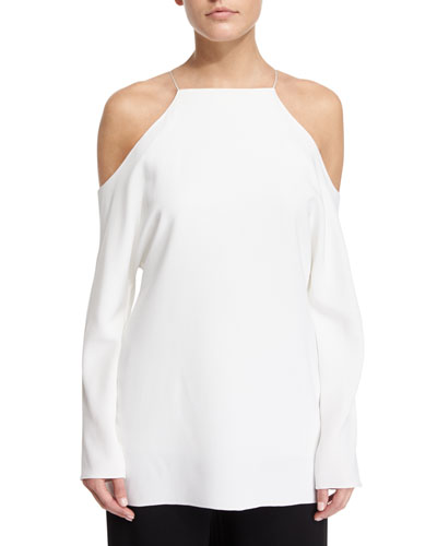 Krauss Long-Sleeve Cold-Shoulder Top, Ivory
