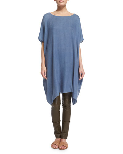 Shells Half-Sleeve Cashmere Tunic Top, Dusty Blue