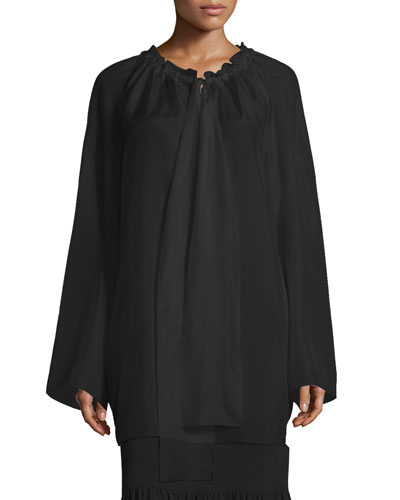 Spira Long-Sleeve Ruched-Neck Silk Blouse, Black